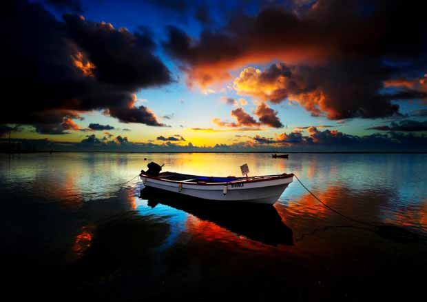 boat colorful sky